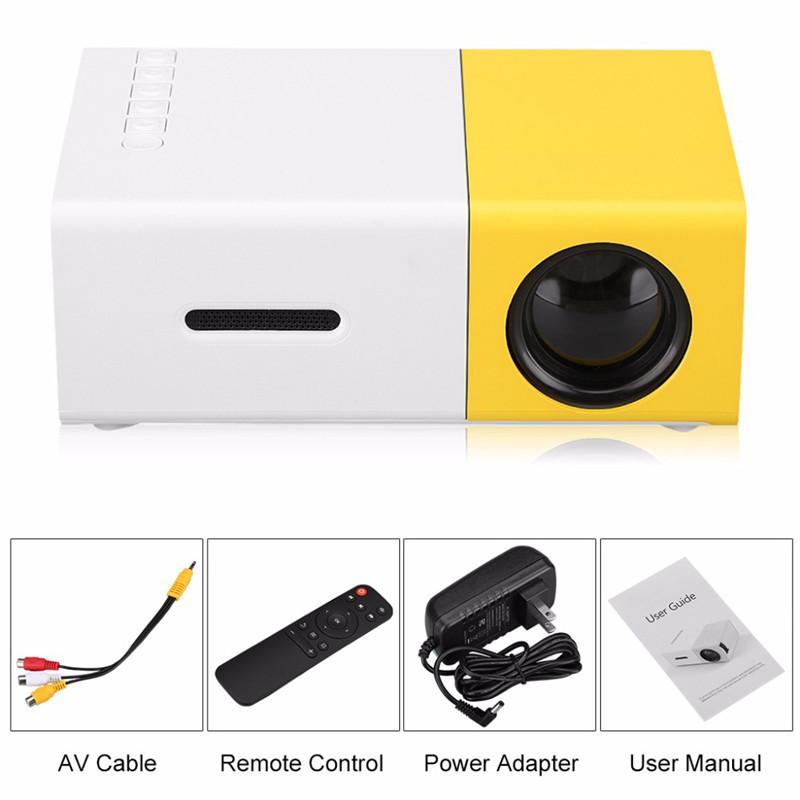 YG300 미니 휴대용 LCD 프로젝터 AV / USB / SD 카드 / HDMI 인터페이스를 갖춘 320 x 240 픽셀의 1080P 지원 내장형 스피커 홈 영화 LED 프로젝터