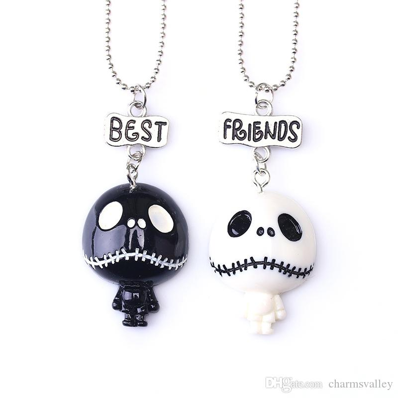 """2 UNIDS / Par Niños """"Mejores Amigos"""" Collares de Halloween Niños Negro Blanco Fantasma Cráneo Collar Para Niños Regalo de La Joyería"""