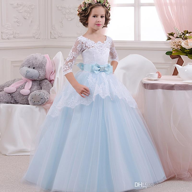 glitz Aqua Blue Flower Girl Dresses Ball Gown Neckline Top Lace little girls pageant dresses with bow sleeves kids communion gowns cheap