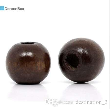 Doreen Box hot- 200 Coffee Dyed Round Wood Spacer Beads 10x9mm (B11035)
