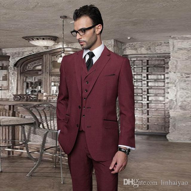 Terno Masculino Slim Fit Ternos Formais Do Casamento Para Homens Custm Feito Vinho Tinto 3 Peça Do Noivo Blazer Terno (jaqueta + colete + calças) 2018