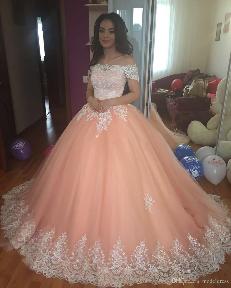 2018 New Peach Quinceanera Dresses Off Shoulder Appliques Ball Gown Sweep Train Sweet 16 Dresses Prom Party Vestidos De 15 Anos Gowns Custom Canada