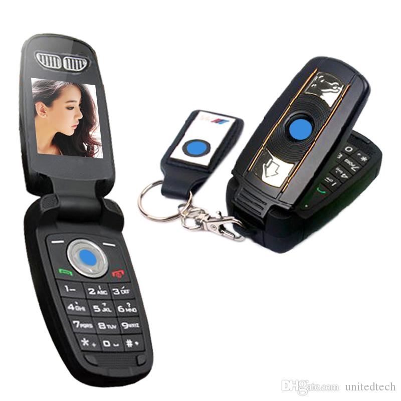 Flip Mini Cartoon Cell Phone Car Key Cellphone Unlock Single GSM Card Small car model FM Camera Cell Mobile Phone X6