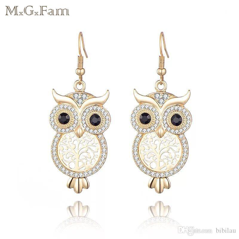 MGFam (433E) OWL Drop Earrings For Women Yellow / Rose / White Gold Plated Clear Crystal Fashion Jewelry