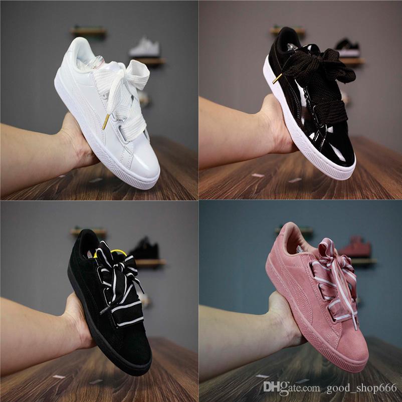 Fashion 2018 Bow Tie Suede Basket Heart Women pink bowknot Board shoes Ladies silk ribbon Bow Leadcat Fenty Rihanna Casual Shoes Eur 36-39