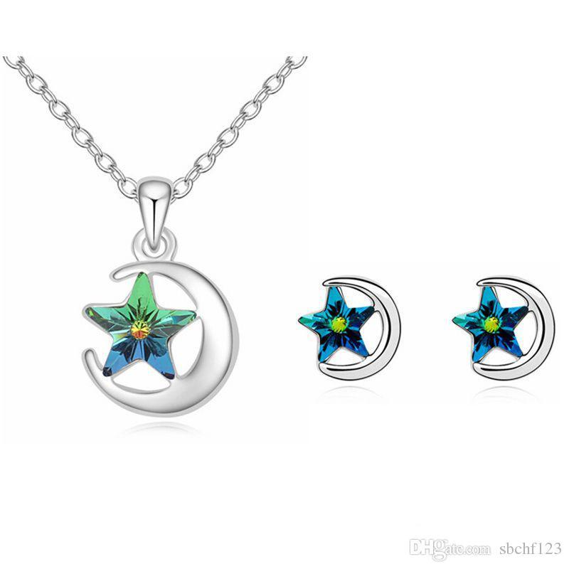 Star Moon Modeschmuck Sets Halskette Ohrringe Kristall von Swarovski Elements Vintage Accessoires für Frauen Geburtstagsgeschenk