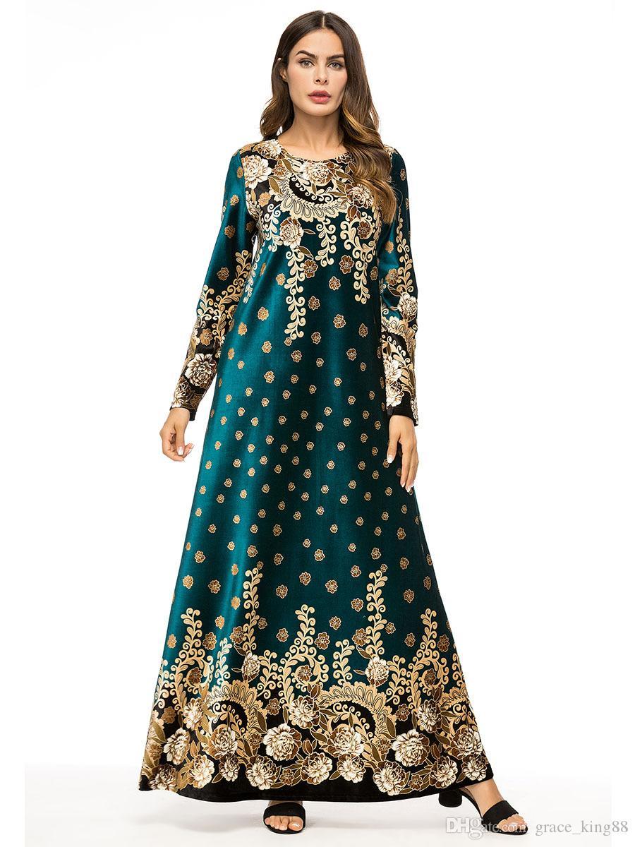 2018 НОВЫЙ Осень Зима Роскошный ПЛЮС РАЗМЕР женщин Ближнего Востока Длинное платье Элегантный национальный стиль с цветами печати макси платье Мусульманские одежды Платье