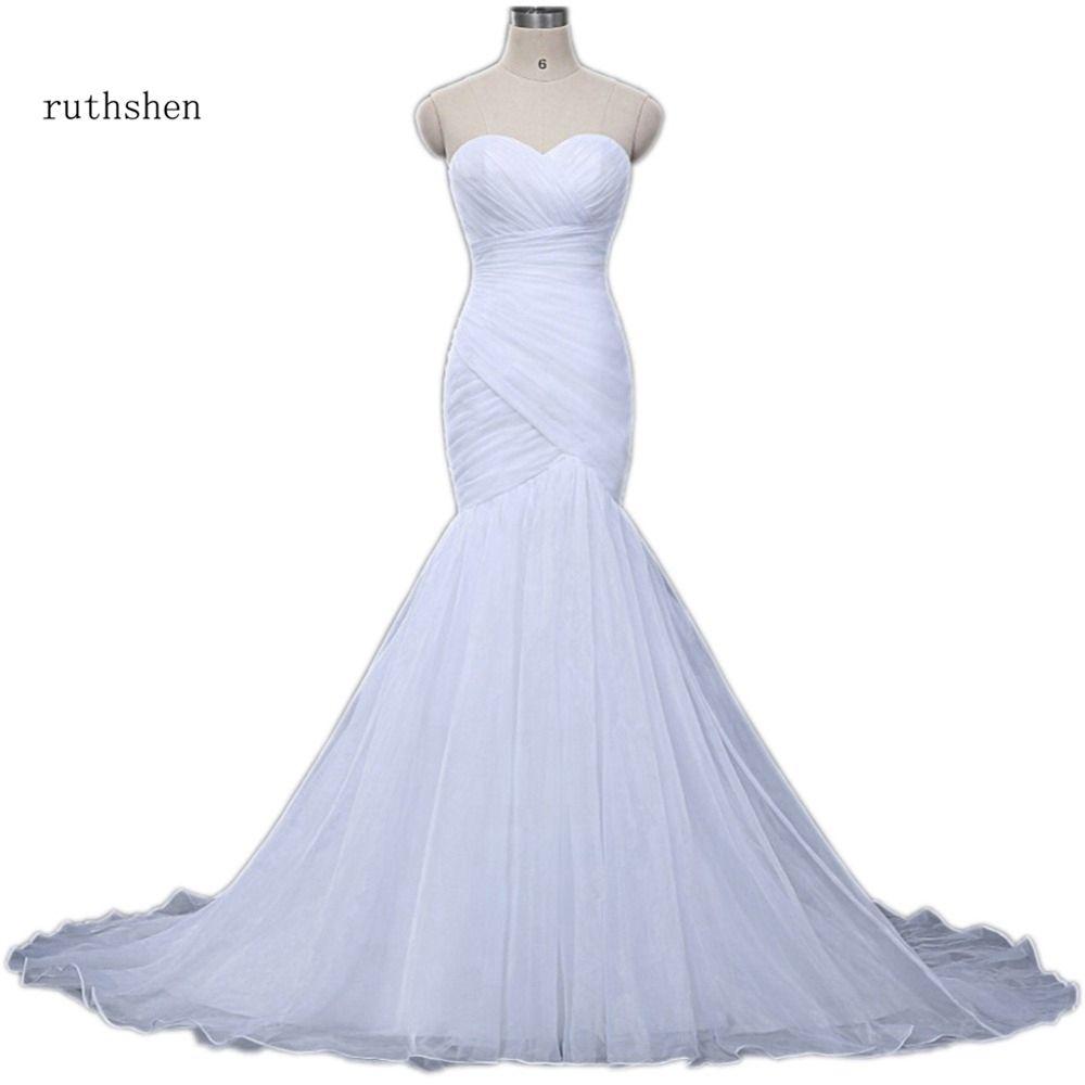 Robes De Mariée Pas Cher Simples Chérie Sirène Plis Drapé Organza Vestes Baratos En Stock Sexy Blanc Robe Novia 2018