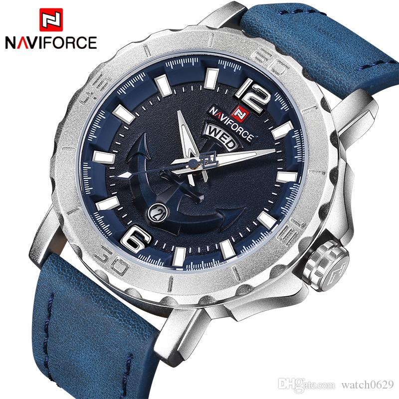 2019 New Top Luxury Naviforce Leather Strap Sports Watches Men Quartz Clock Sports Military Wrist Watch Blue Leather Drop Shipping