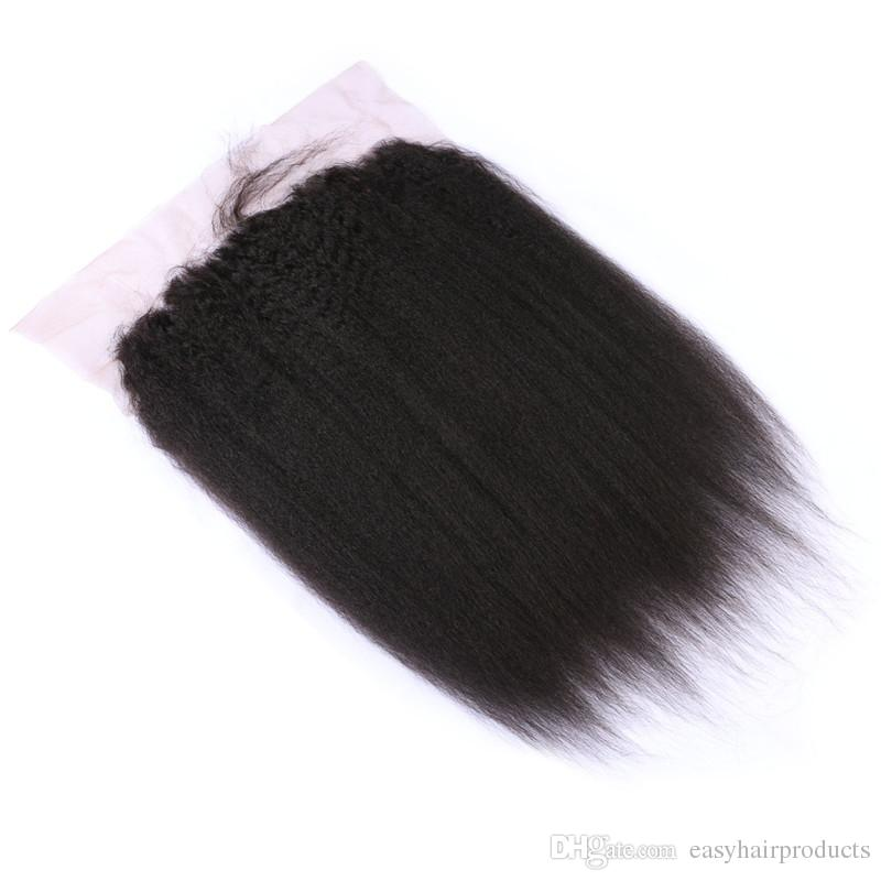 Virgin 13*6inch Kinky Straight Full Lace Frontal Closure With Baby Hair Natural Color Human Hair Lace Frontals