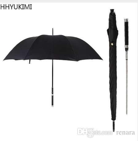 HHYUKIMI Marca Manera Mango Largo Hombre Paraguas Automático A Prueba de Viento Espada Negocio Guerrero Autodefensa Soleado Paraguas Creativo