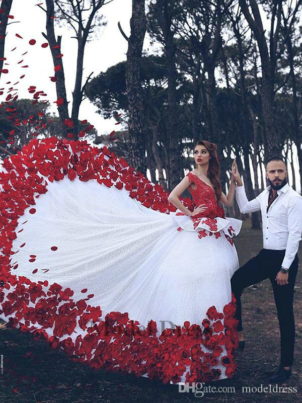 Discount Red And White Wedding Dresses With 3D Handmade Flowers Peplum Sexy  Deep V Neck Saudi Arab Women Dresses For Wedding Party Gowns Christian