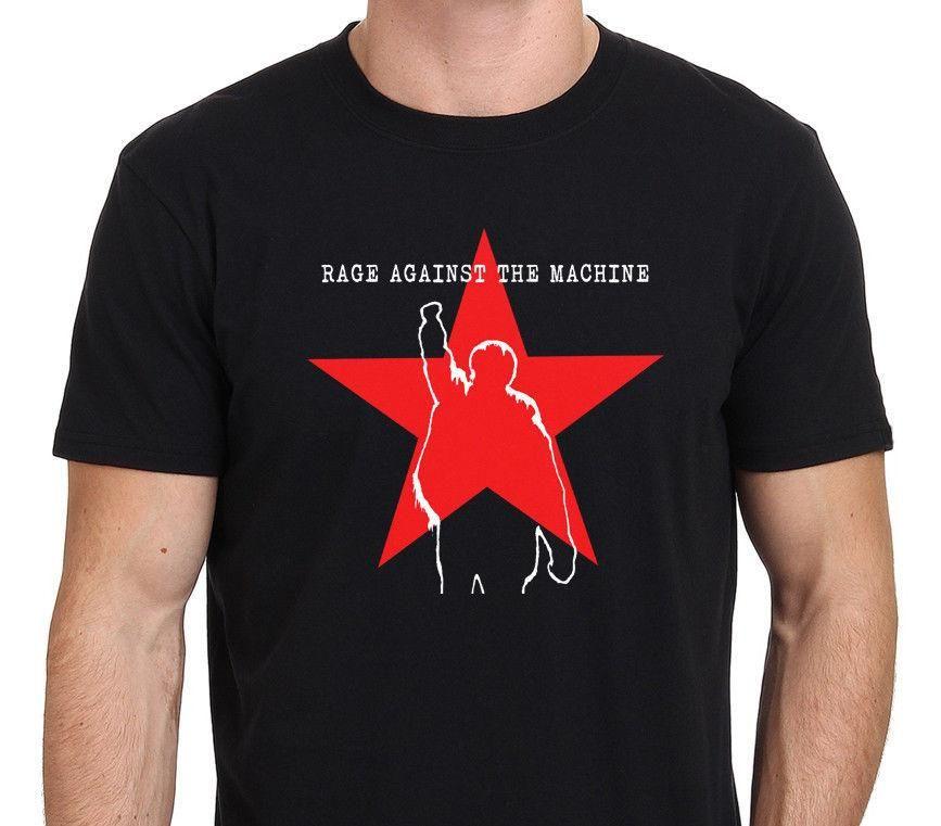 Makineye Karşı Rage RATM Yıldız Logosu erkek Siyah T-Shirt Boyutu S-3XL 2018 Yeni Varış Erkekler T Gömlek Yeni Trend
