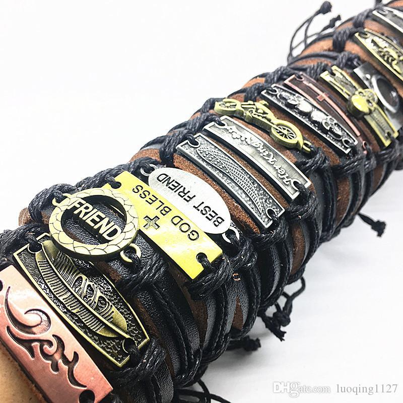 I lotti all'ingrosso all'ingrosso mescolano il lotto i braccialetti superiori del polsino del motociclista del cuoio genuino del metallo genuino fatto a mano i nuovi di marca