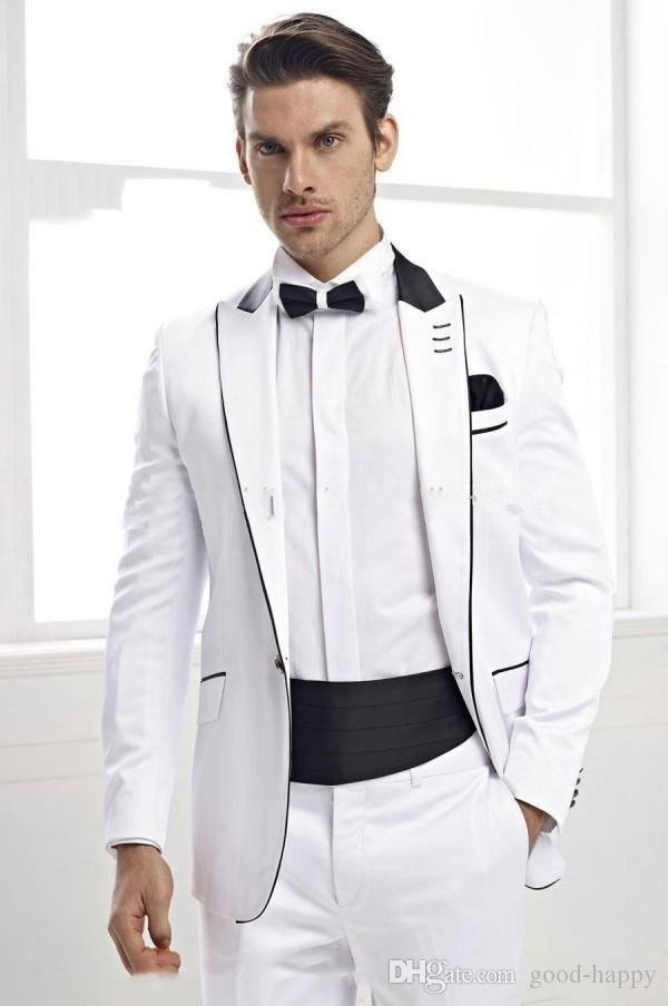Mejor diseño blanco 2 piezas traje hombres boda Tuxdos excelente novio esmoquin hombres cena de negocios Prom Blazer (chaqueta + pantalones + Tie + faja) 1285