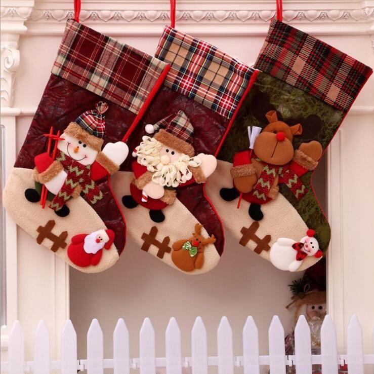 (9шт)Оптовая новый рождественский чулок украшения Рождественский подарок мешок высокого класса Санта-Клауса большой чулок подарок мешок