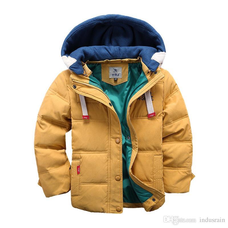 어린이 Parkas 아래로 4-10T 겨울 애들 아우트 보이 소년 캐주얼 따뜻한 후드 자켓 단색 소년 따뜻한 코트