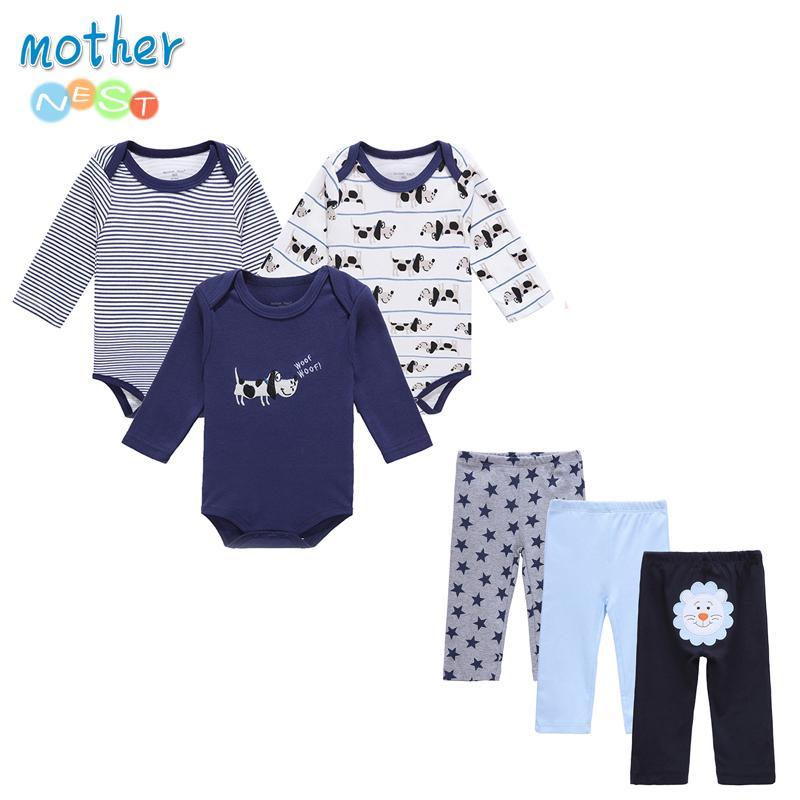6 pçs / lote mãe ninho bebê menino roupas newborn bebê infantil 0-12 outono / primavera macacão de bebê + calças conjuntos de roupas