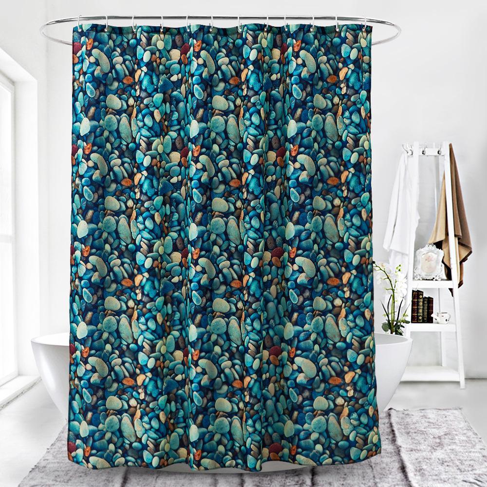 3D numérique pavé coloré impression imperméable à l'eau des rideaux de douche épaississement pour salle de bains avec fermoir en plastique Accessoires de salle de bains pour le bain