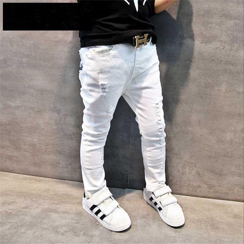 Boutique en ligne fc90e 1c837 Compre Ropa Infantil Para Niños Pantalones Vaqueros Infantiles 2016 De  Primavera Y Otoño Niños Pantalones Casuales Bebé Blanco Flaco Pantalones De  ...