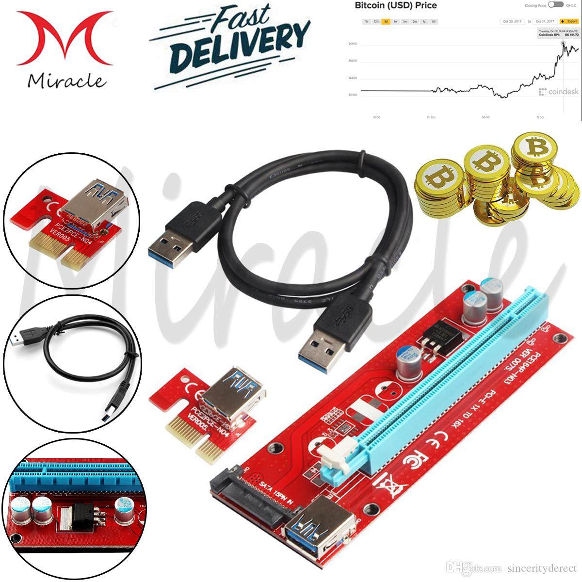 PCI Riser Express 1X to 16X Riser Card USB 3.0 Extender Cable with Power Supply for Bitcoin Litecoin Miner