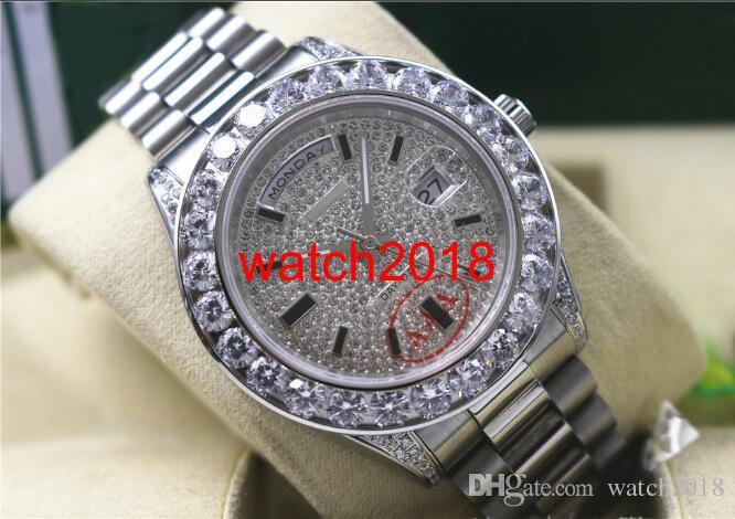 Najwyższej jakości Luksusowy zegarek Męskie 18038 18K White Gold Daydate Większe diamenty 41mm Watch Automatyczne męskie zegarek