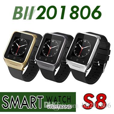 S8 Android 4.4 Montre Smart Watch GSM Téléphone GPS MTK6572 Dual Core 512MB 4GB 2.0MP Caméra SIM 3G WiFi Bluetooth 4.0 WCDMA 1.54 pouce Smartwatch