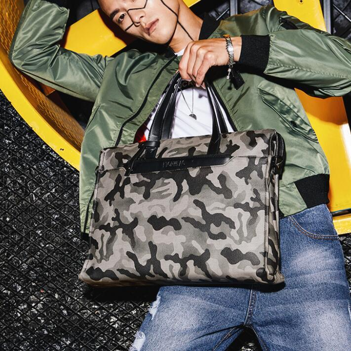 factory outl brand fashion leather handbag bag briefcase camouflage camouflage personality multi-function Leather Laptop Bag metrosexual man