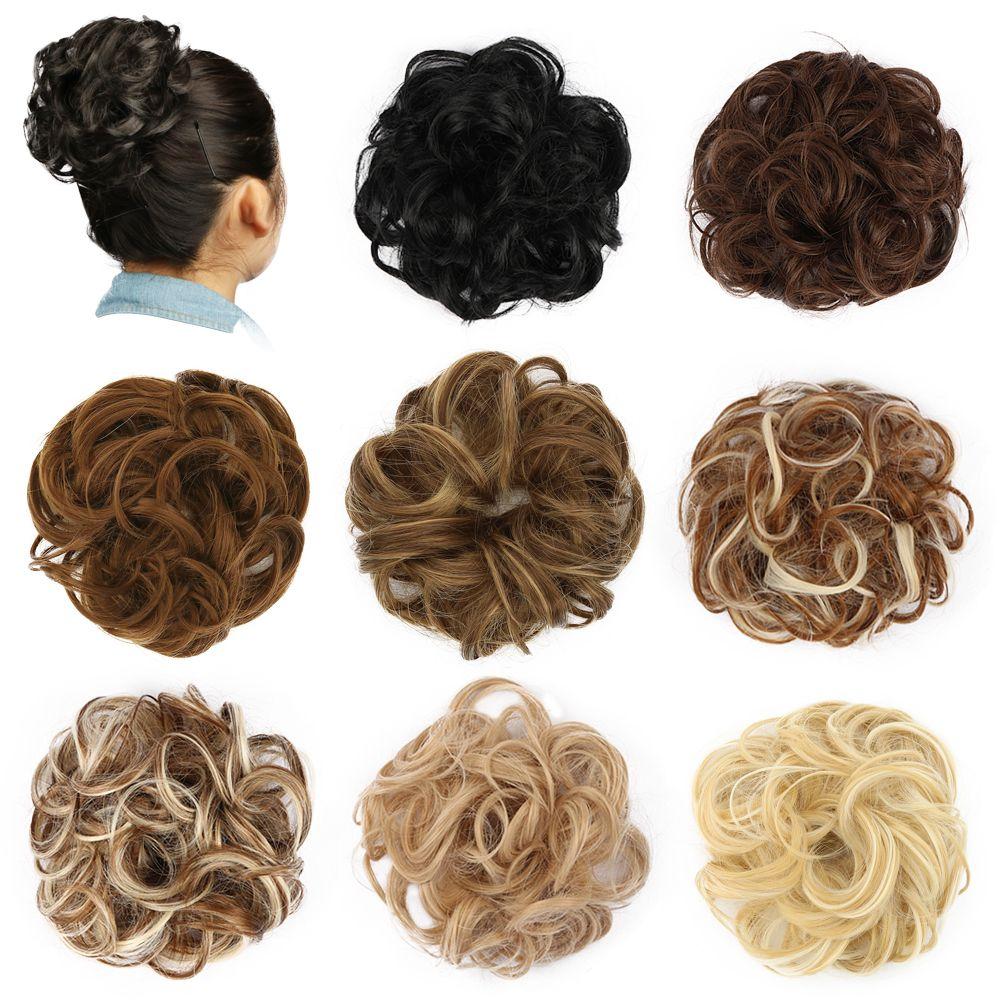 Chignon Cheveux Chignon Perruque Curly Cheveux Chouchou Extensions Blonde Brun Noir Résistant À La Chaleur Synthétique Pour Femmes Cheveux Morceaux