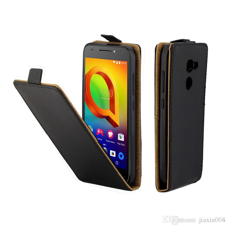 Skórzane skórzane futerały na telefon komórkowy dla Coque ALCATEL A3 5046 5046D pionowe flipplover Card Slot Case