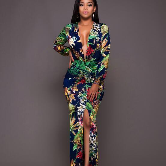 여름 드레스 2018 여성 꽃 프린트 빈티지 딥 브이 넥 분할 바닥 길이 복고풍 섹시한 파티 해변 맥시 드레스 플러스 사이즈 AF980
