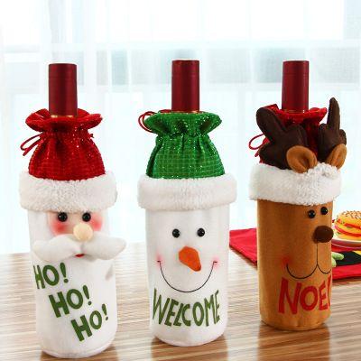 New Christmas wine cover Wine Bottle Cover christmas desktop decor Santa Claus Christmas Dinner elk Decoration