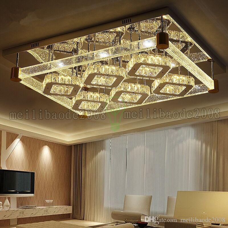 Creative Simple Modern Rectangular Crystal LED Ceiling Lamps Bubble Crystal Column Lights Lighting For Living Room Bedroom Villas Hotel Bar