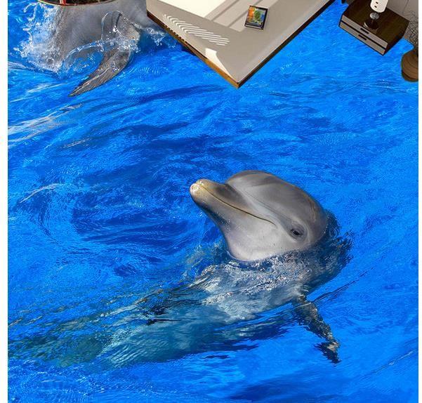 Floor Painting 3D Wallpaper 3D Dolphin Playing Floor Piastrelle per pavimenti Pittura antiscivolo impermeabile autoadesiva in PVC