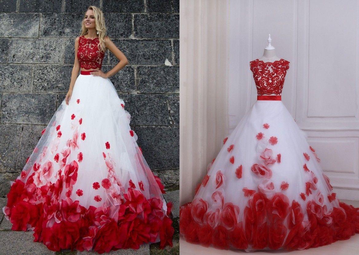 Rote und weiße Ballkleid-Abschlussball-Kleider Zwei Stücke neue preiswerte Jewel Neck SpitzeApplique 3D-Blumenblumen-Tulle-langer Abend-formales Kleid