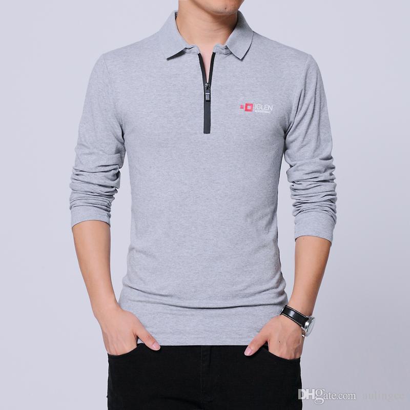 2018 Nouveau Hommes Polo Shirt Marque Mens Polo Shirt À Manches Longues Casual Male Shirt Hommes Polos Chemises 4XL 5XL