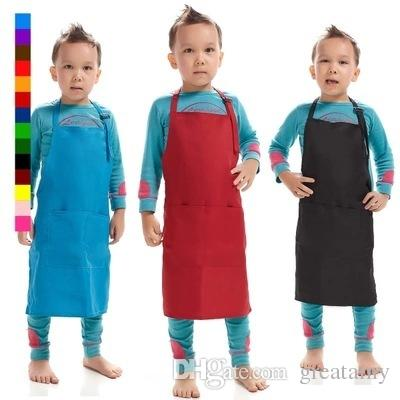Simple cute children's apron cooking baking adjustable youth anti-fouling kids plain apron art bib drawing many color