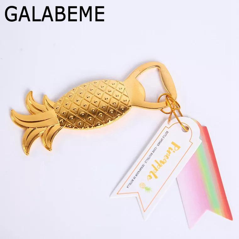 wholesale 5pcs/lot Alloy Gold Pineapple Beer Bottle Opener Kitchen Gadgets Dining Bar Tools wedding favors and gifts for guests