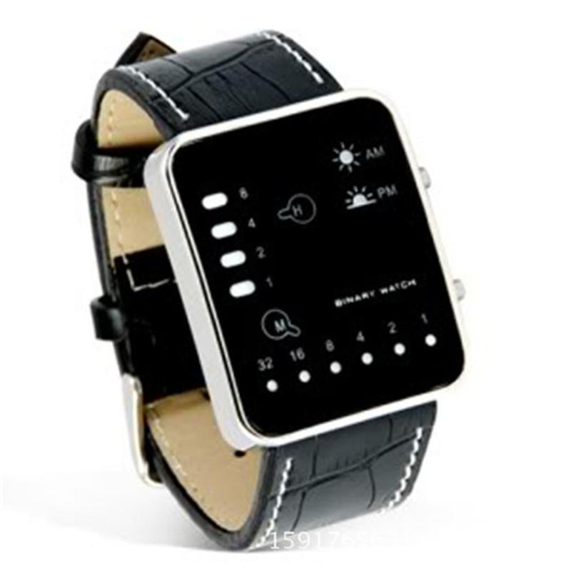 Moda Relogios Masculine Digital LED LED reloj de pulsera reloj binario PU Leather Women Mens reloj caliente de alta calidad