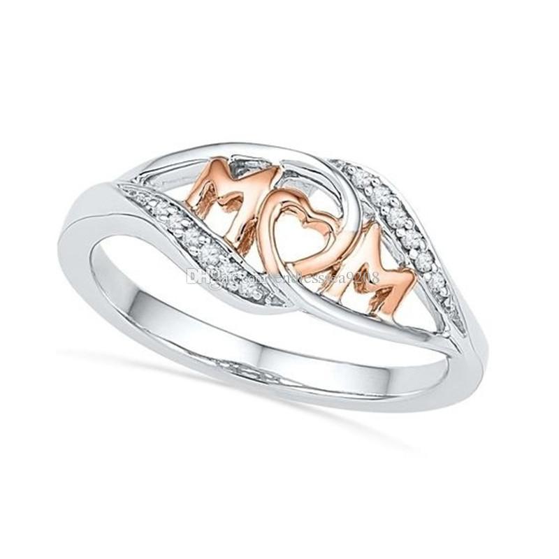 18k 로즈 골드 사랑 엄마 엄마 심장 링 크리스탈 다이아몬드 보석 견인 톤 컬러 반짝 라인 석 쥬얼리 어머니의 날 선물