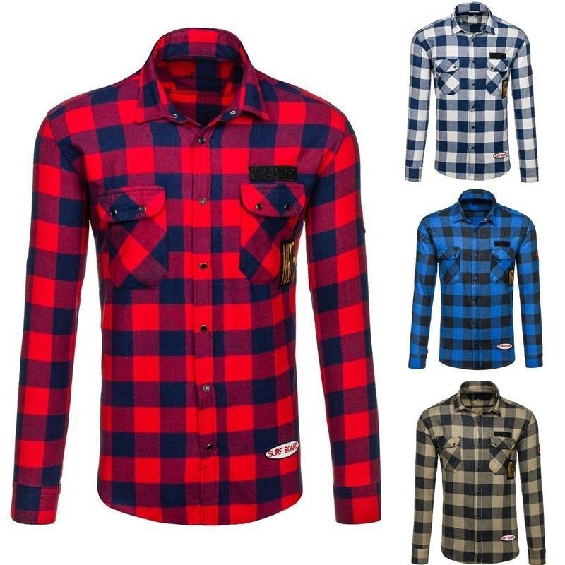 2018 새로운 브랜드 Shirs 남자 격자 무늬 코튼 셔츠 따뜻한 패션 남성 긴 소매 캐주얼 셔츠 남자 젊은 드레스 셔츠 플러스 3XL
