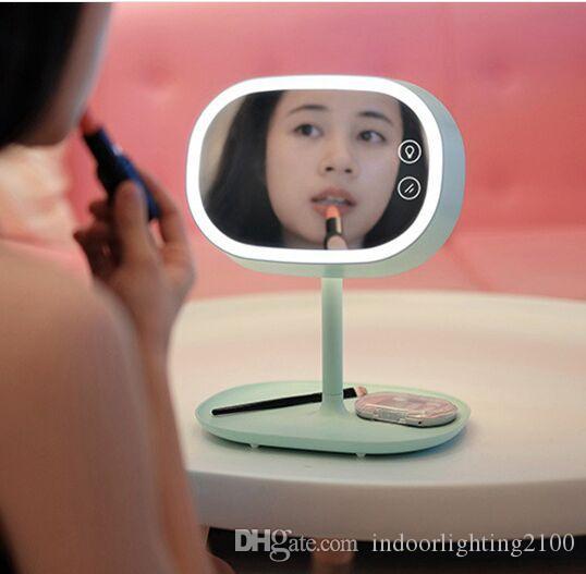 크리 에이 티브 디자인 충전식 Led 화장품 거울 조명 램프 크리스마스 / 발렌타인 데이 생일 웨딩 선물 데스크 미러 조명