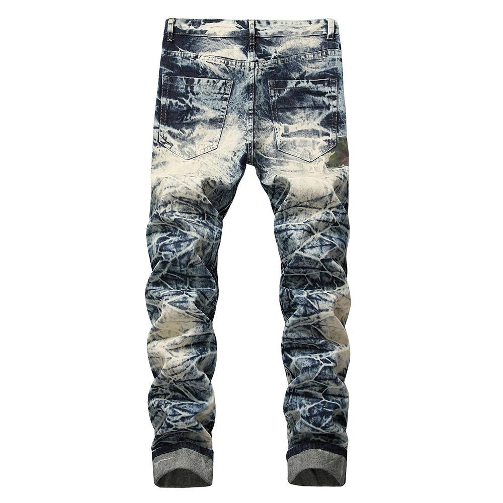 Jean Vintage HIP JEAN Mode Pantalon Idody Pantalon lavé Mens Patchwork Denim Fit Camo Hop Pantalon droit pour hommes KMXAJ