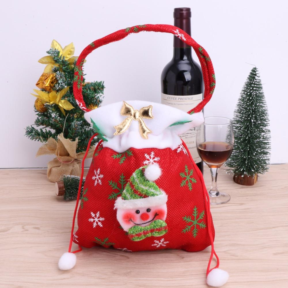 1Pc Christmas Santa Claus Snowman Face Gift Bag For Candies Goodies Stocking Filler With Handles Christmas Trees Decoration W15
