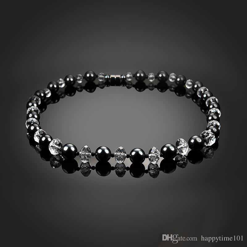 Collar de cuentas de cristal de hematita exquisito yoga reiki curación cristales piedra chakra equilibrio collar mujeres regalo