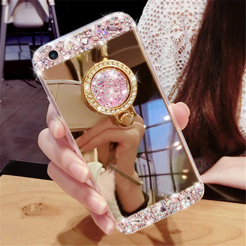 Fantezi Elmas ayı kristal taş parmak yüzük standı ayna telefon kılıfı kapak Için LG G4 G5 G6 V10 V20 V30 G7