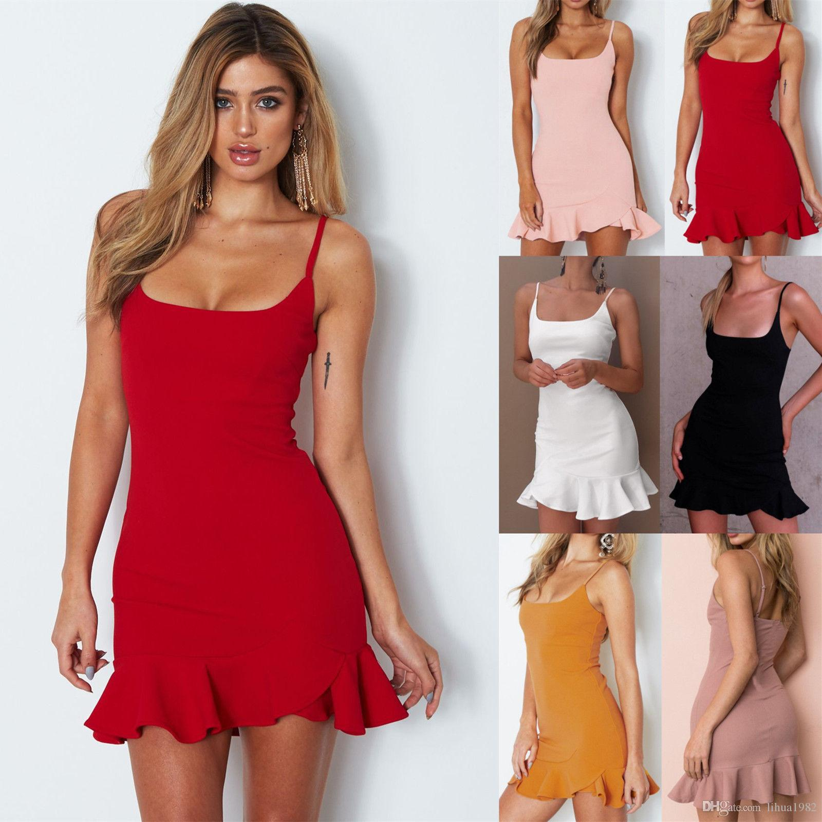 Womens Sleeveless Bodycon Skater Dresses Ladies Summer Beach Mini Sun Dress 4de911559f