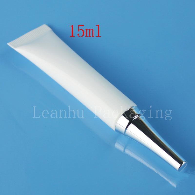 15ML X 100 عينة الأبيض أنبوب لينة بلاستيكية مع غطاء فضي 15G العين كريم مستحضرات التجميل أنبوب غسول زجاجة كريم الحاويات المرهم قارورة