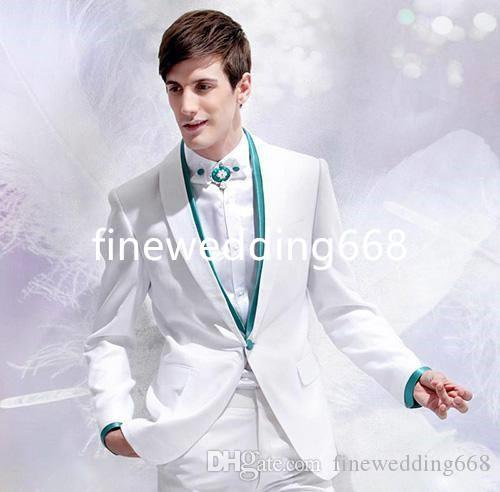 Dwa Kawałek Nowy Styl One Button White Wedding Groom Tuxedos Mężczyźni Garnitury Wedding / Prom / Dinner Best Man Blazer (Jacket + Tie + Hirle + Spodnie)