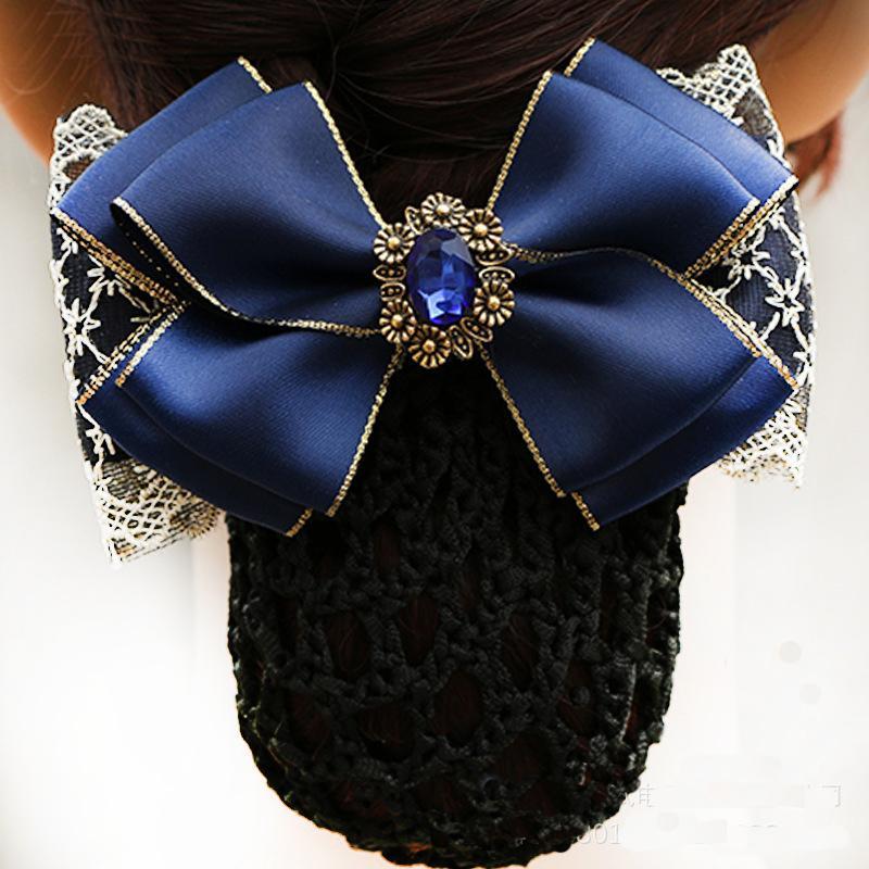 2018 Moda Handmade Ufficio Lady Bow Tie Barrette Clip di Capelli Copertura Bowknot Net Bun Deep Snood per Acconciatura Capelli Lunghi